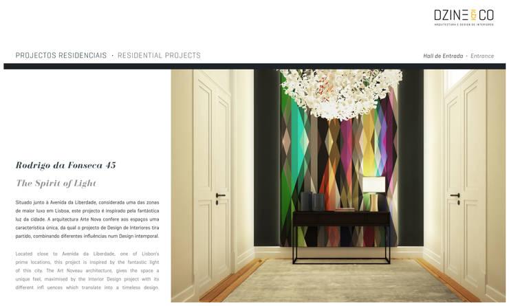 The Spirit of Light: Corredores e halls de entrada  por DZINE & CO, Arquitectura e Design de Interiores