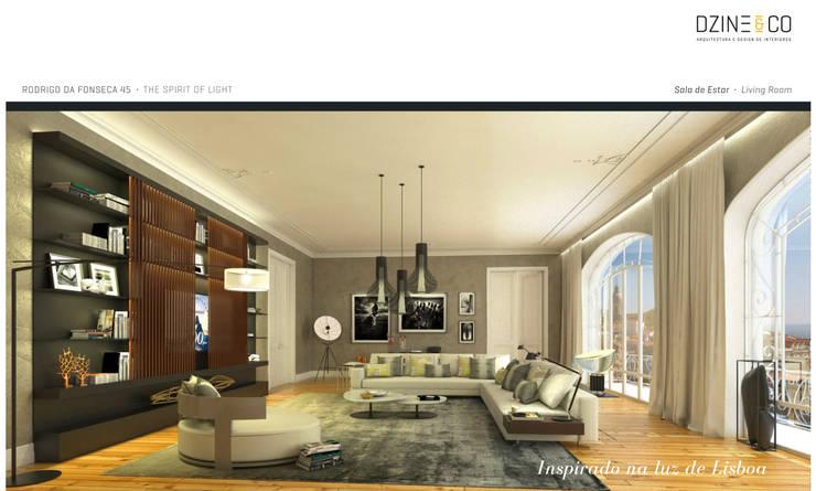 The Spirit of Light: Salas de estar  por DZINE & CO, Arquitectura e Design de Interiores