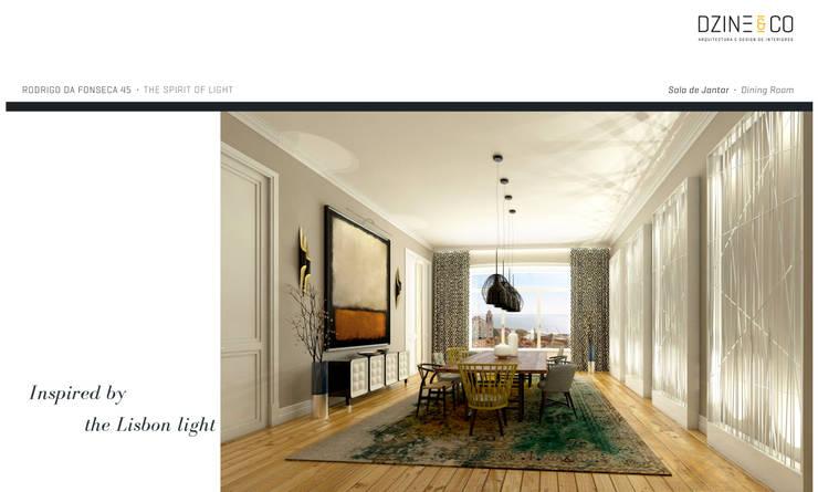 The Spirit of Light: Salas de jantar  por DZINE & CO, Arquitectura e Design de Interiores