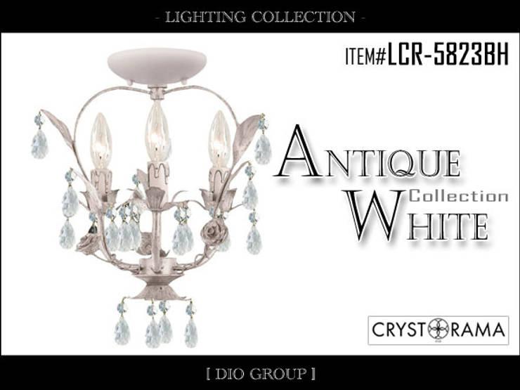 アンティークホワイト3灯立体シーリングライト: 株式会社ディオが手掛けたリビングルームです。