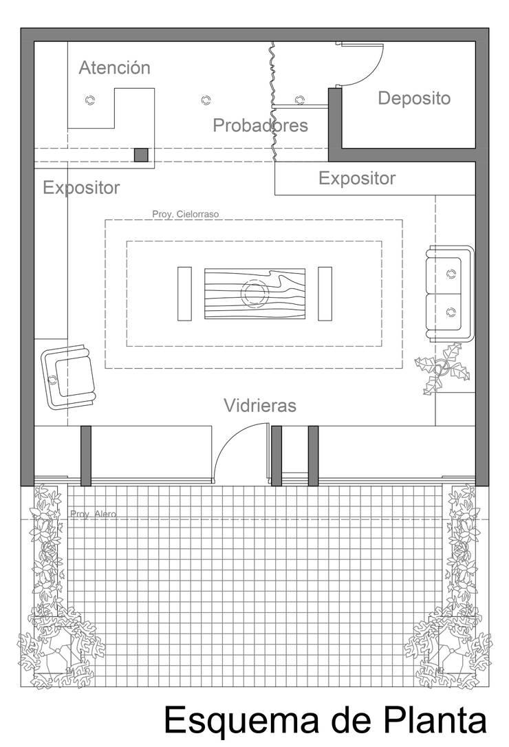 Esquema de Planta Oficinas y comercios de estilo ecléctico de VI Arquitectura & Dis. Interior Ecléctico