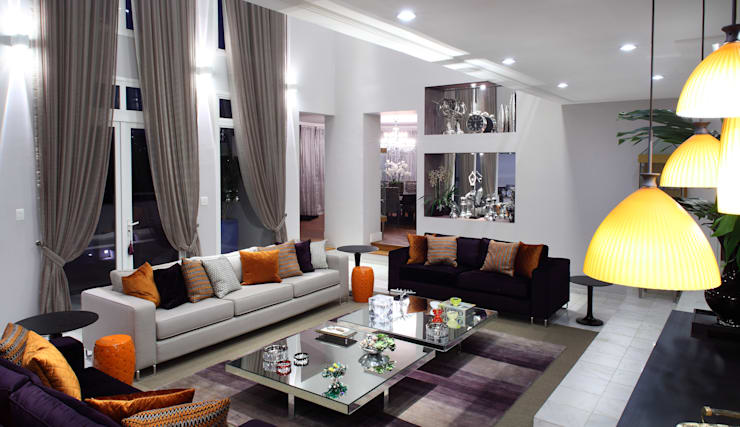 Sala de estar - Residência Alphaville Tamboré 3: Salas de estar  por Studio 262 - arquitetura interiores paisagismo