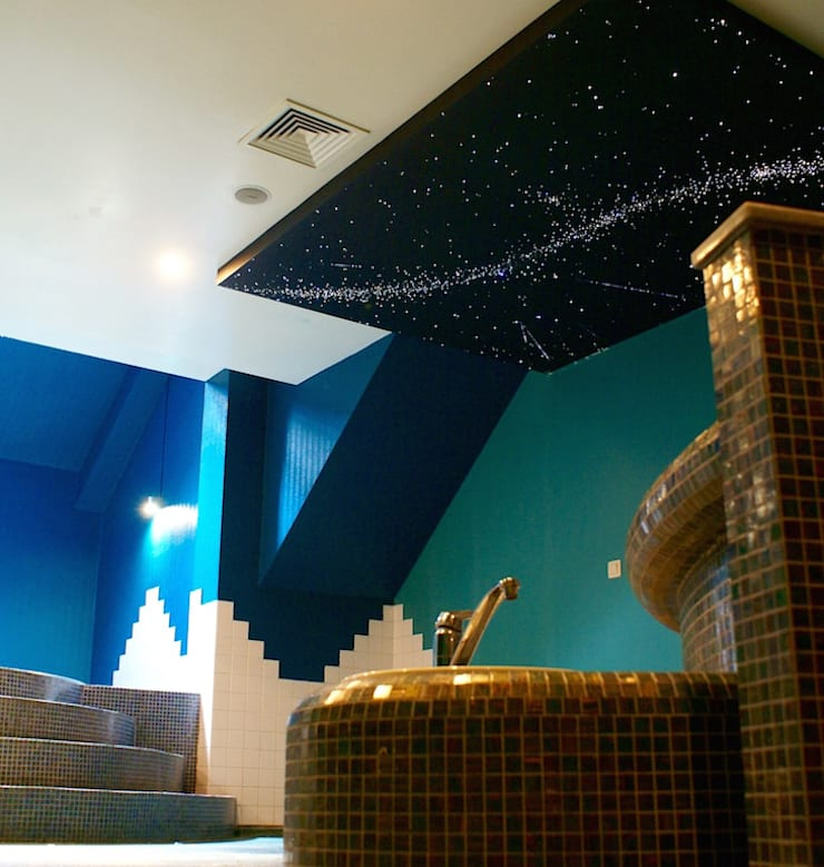 Fiber Optic Star Ceiling Bathroom, spa, pool, sauna with Milky Way + Shooting stars 根據 MyCosmos 地中海風