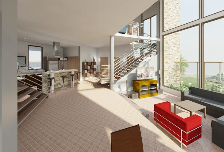 Hall- sala : Salas / recibidores de estilo  por Diseño Store
