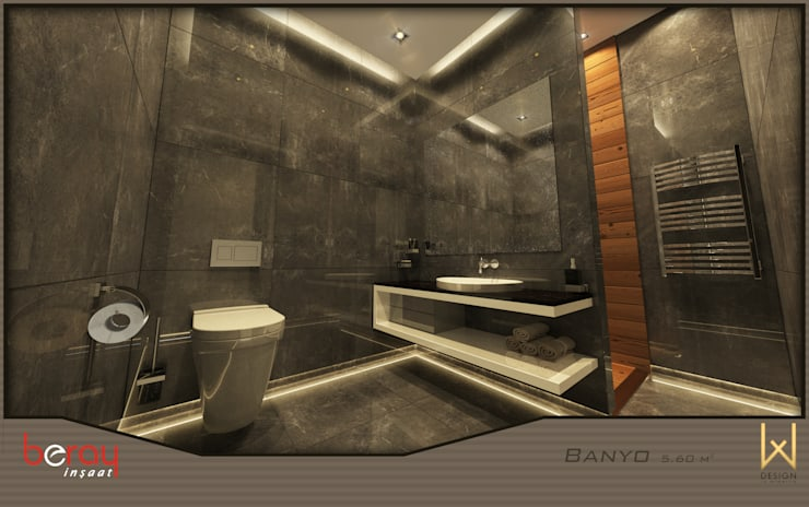 Bathroom by W DESIGN İÇ MİMARLIK, Modern Ceramic