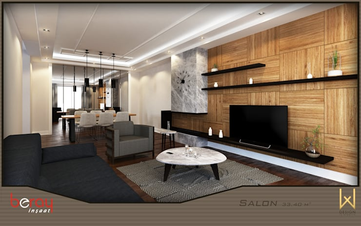 Living room by W DESIGN İÇ MİMARLIK, Modern Wood Wood effect