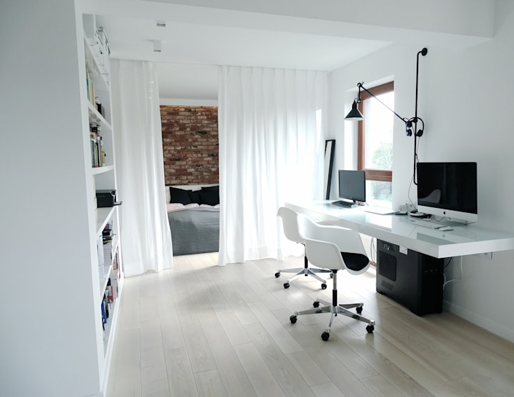 minimalistic Study/office by MINIMOO Architektura Wnętrz