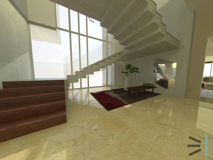 Escaleras de acceso: Vestíbulos, pasillos y escaleras de estilo  por Tres en uno design