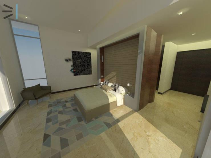 Habitación 02: Dormitorios de estilo  por Tres en uno design