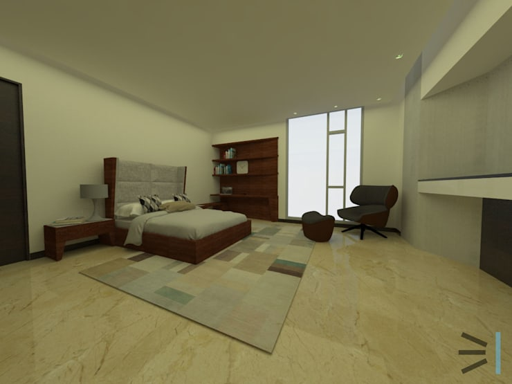 Habitación 03: Dormitorios de estilo  por Tres en uno design