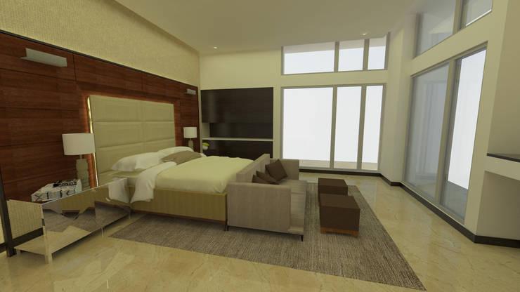 Habitación Principal: Dormitorios de estilo  por Tres en uno design
