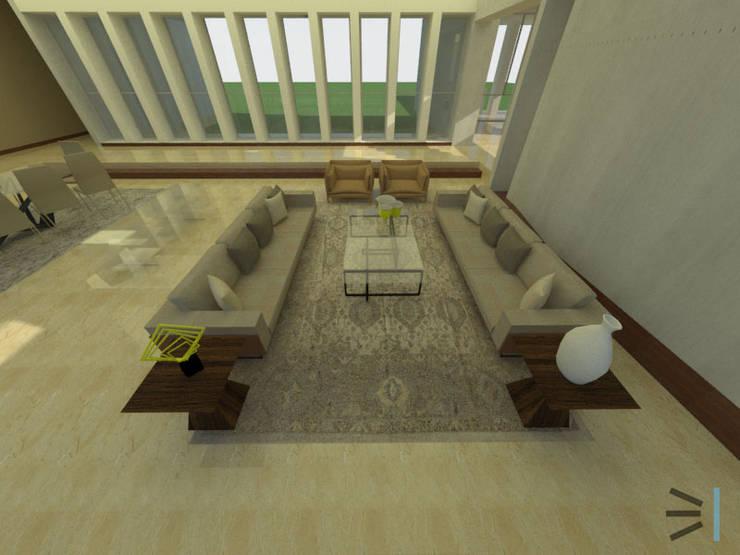 Sala principal: Salas/Recibidores de estilo moderno por Tres en uno design
