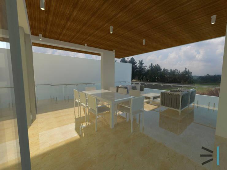 Terraza: Balcones, porches y terrazas de estilo moderno por Tres en uno design