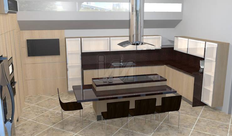 Cocina con isla.: Cocinas de estilo moderno por Ing. William Martinez