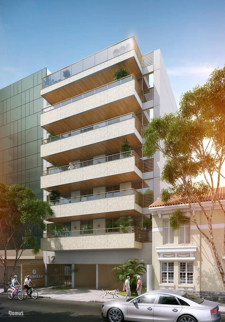 EDIFÍCIO CARAVELLE | Fachada: Casas  por Tato Bittencourt Arquitetos Associados