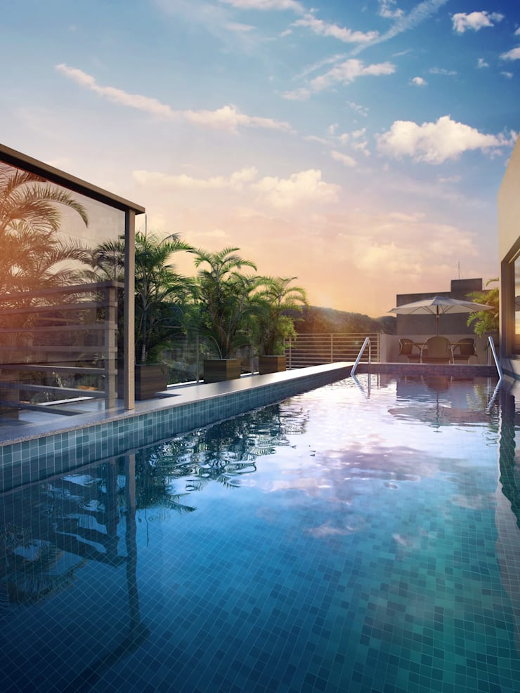 EDIFÍCIO CARAVELLE | Piscina: Piscinas modernas por Tato Bittencourt Arquitetos Associados
