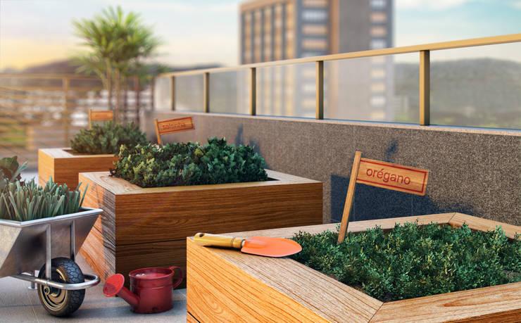 EDIFÍCIO CARAVELLE | Horta: Jardins modernos por Tato Bittencourt Arquitetos Associados