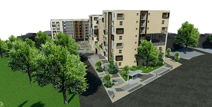 Proyecto San Blas de los cerros <q> vivienda multifamiliar vip</q>: Casas de estilo  por JELKH Design Architects s.a.s