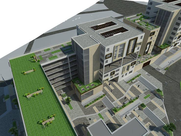 Proyecto San Blas de los cerros <q> vivienda multifamiliar vip</q>: Terrazas de estilo  por JELKH Design Architects s.a.s