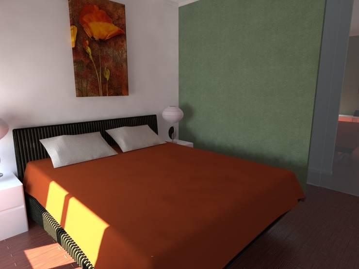 Remodelação de Apartamento em Almada: Quartos  por Projectos Arquitectura & 3D