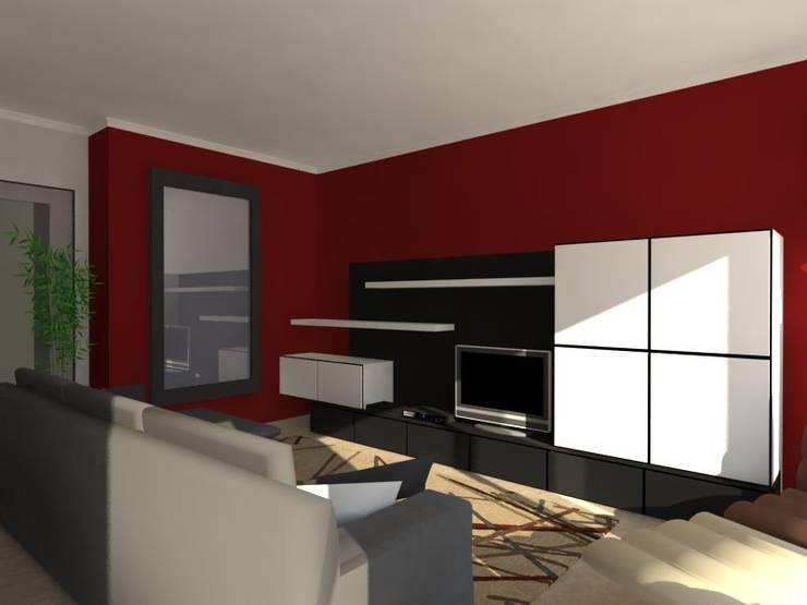 Remodelação de Apartamento em Almada: Salas de estar  por Projectos Arquitectura & 3D