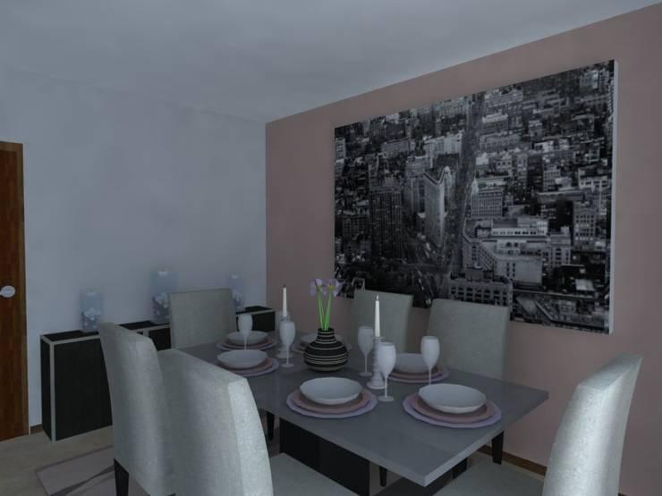 Remodelação de Apartamento em Almada: Salas de jantar  por Projectos Arquitectura & 3D