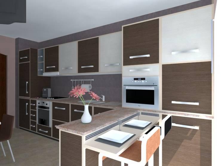 Remodelação de Apartamento em Almada: Cozinhas  por Projectos Arquitectura & 3D
