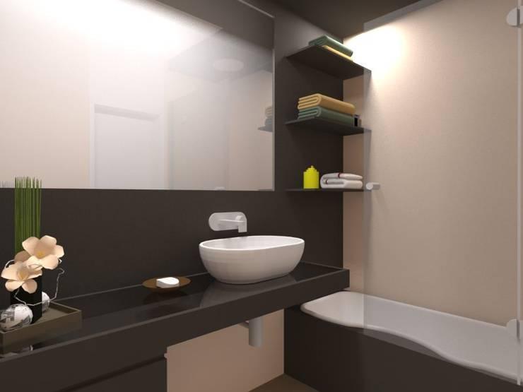 Remodelação de Apartamento em Almada: Casas de banho  por Projectos Arquitectura & 3D