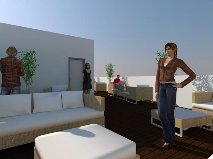 Residência para Estudantes: Terraços  por Projectos Arquitectura & 3D,Minimalista