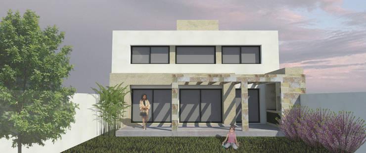 Fachada posterior: Casas de estilo  por MLL arquitecta