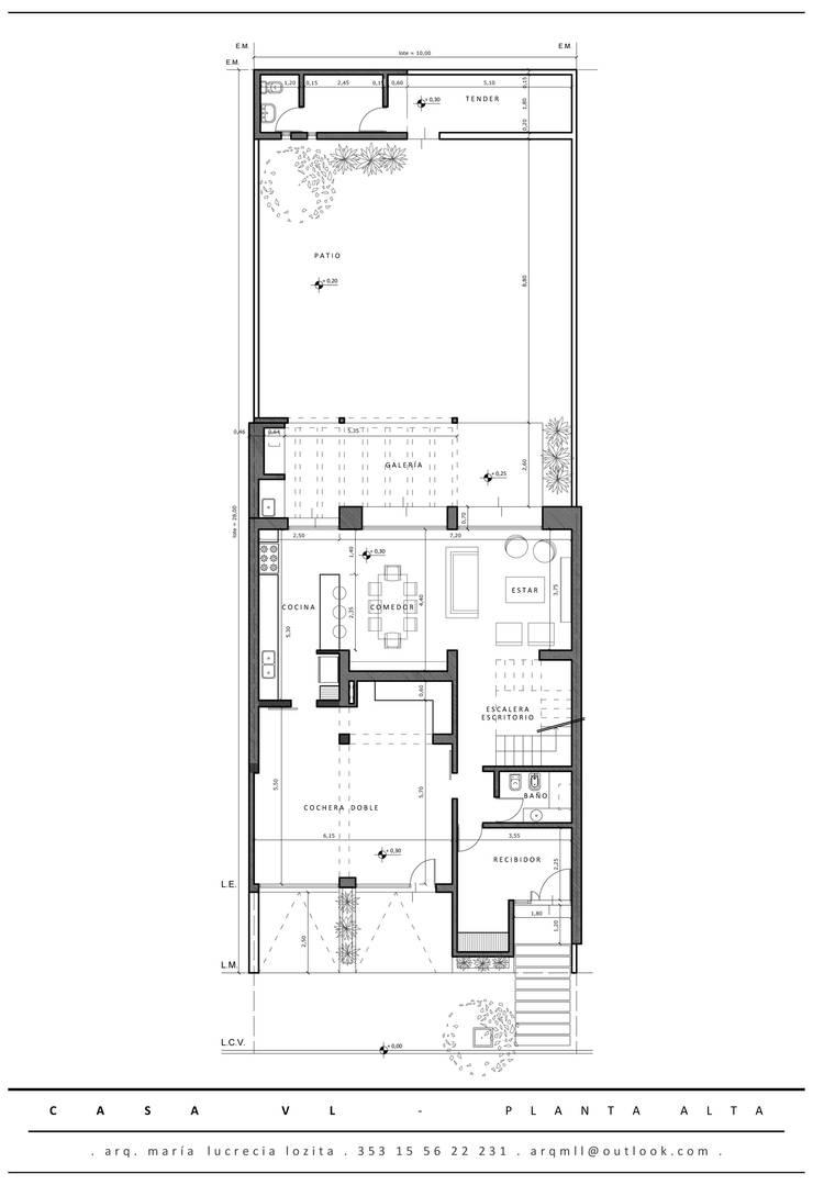 Planta Baja: Comedores de estilo  por MLL arquitecta
