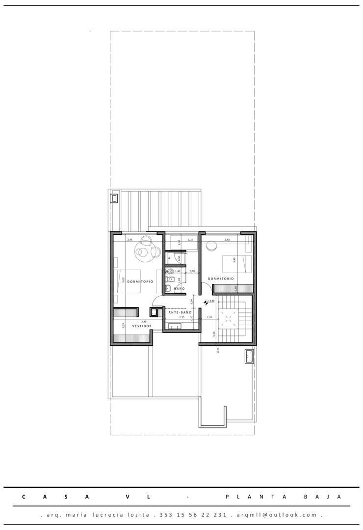 Planta Alta: Dormitorios de estilo  por MLL arquitecta