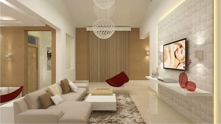 CHAITANYA LA GROVE VILLA, BANGALORE (www.depanache.in) :  Living room by De Panache  - Interior Architects