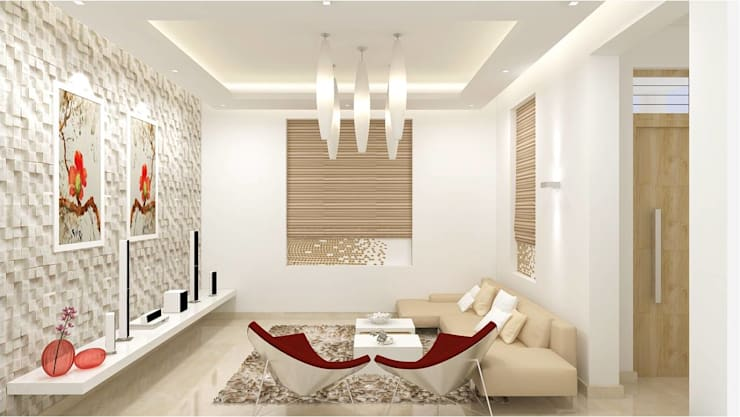CHAITANYA LA GROVE VILLA, BANGALORE (www.depanache.in) : modern Living room by De Panache  - Interior Architects