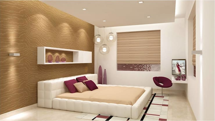CHAITANYA LA GROVE VILLA, BANGALORE (www.depanache.in) : modern Bedroom by De Panache  - Interior Architects