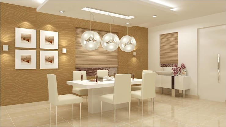 CHAITANYA LA GROVE VILLA, BANGALORE (www.depanache.in) :  Dining room by De Panache  - Interior Architects