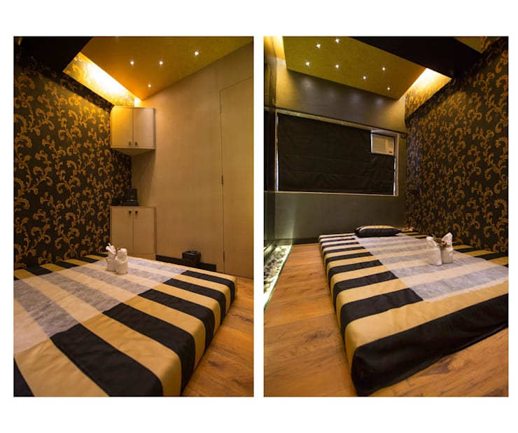 full body massage area:  Commercial Spaces by Ishita Joshi Designs - Love Living!,Modern