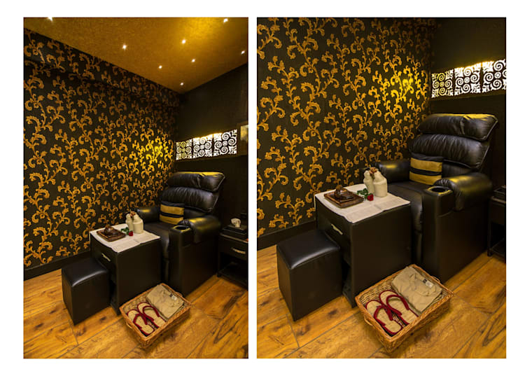 foot spa recliners:  Commercial Spaces by Ishita Joshi Designs - Love Living!,Modern
