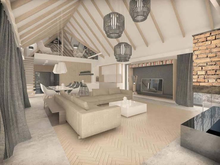 Dom energooszczędny przy ścianie lasu. Projekt domu + wnętrza: styl , w kategorii Salon zaprojektowany przez GRYMIN - TYBULCZUK ARCHITEKCI