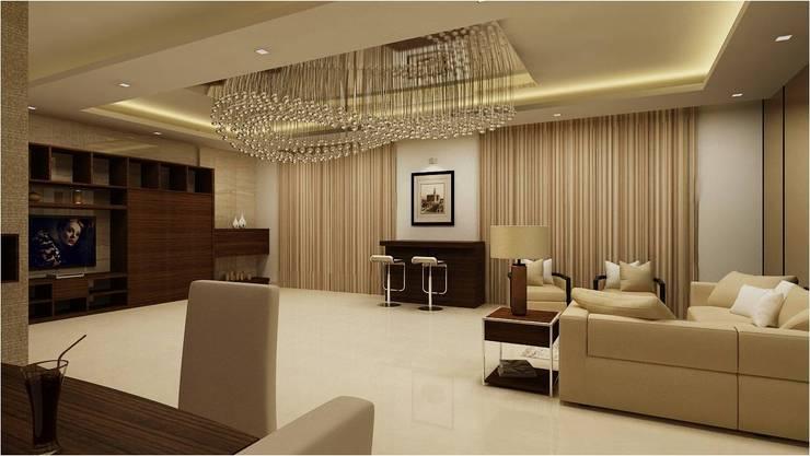 MANTRI ESPANA, BANGALORE. (www.depanache.in):  Living room by De Panache  - Interior Architects