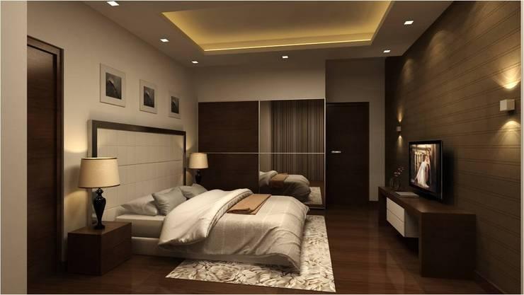 MANTRI ESPANA, BANGALORE. (www.depanache.in):  Bedroom by De Panache  - Interior Architects