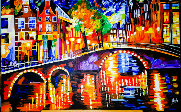 THE OLD BRIDGE-KNIFE PAINTING REPRODUCTION: modern  by SHEEVIA  INTERIOR CONCEPTS,Modern