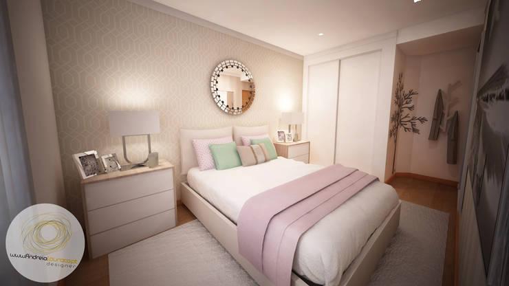 Dormitorios de estilo  por Andreia Louraço - Designer de Interiores (Contacto: atelier.andreialouraco@gmail.com)