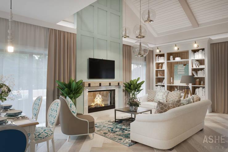 Дизайн интерьера коттеджа: Гостиная в . Автор – Студия авторского дизайна ASHE Home