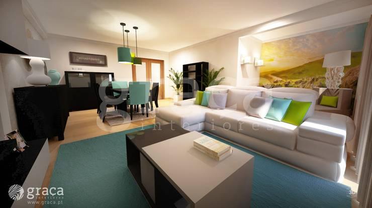 Projecto de Decoração com Mobiliário Escuro: Salas de estar  por Andreia Louraço - Designer de Interiores (Contacto: atelier.andreialouraco@gmail.com),Eclético