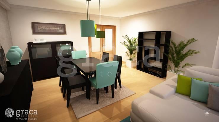 Projecto de Decoração com Mobiliário Escuro: Salas de jantar  por Andreia Louraço - Designer de Interiores (Contacto: atelier.andreialouraco@gmail.com),Eclético
