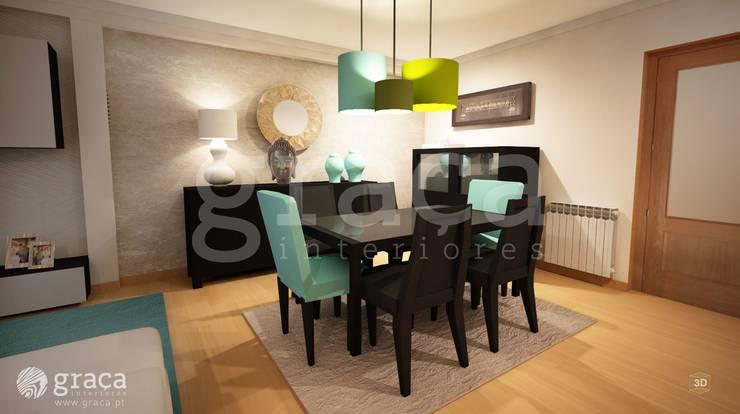 Projecto de Decoração com Mobiliário Escuro: Salas de jantar  por Andreia Louraço - Designer de Interiores (Contacto: atelier.andreialouraco@gmail.com),Moderno
