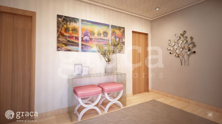 Projecto de Decoração - Hall de entrada - 3D: Corredores e halls de entrada  por Andreia Louraço - Designer de Interiores (Contacto: atelier.andreialouraco@gmail.com)