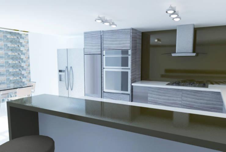 Proyecto Casa Chicó: Cocinas de estilo moderno por ARQFACTORY FIRMA DE ARQUITECTURA