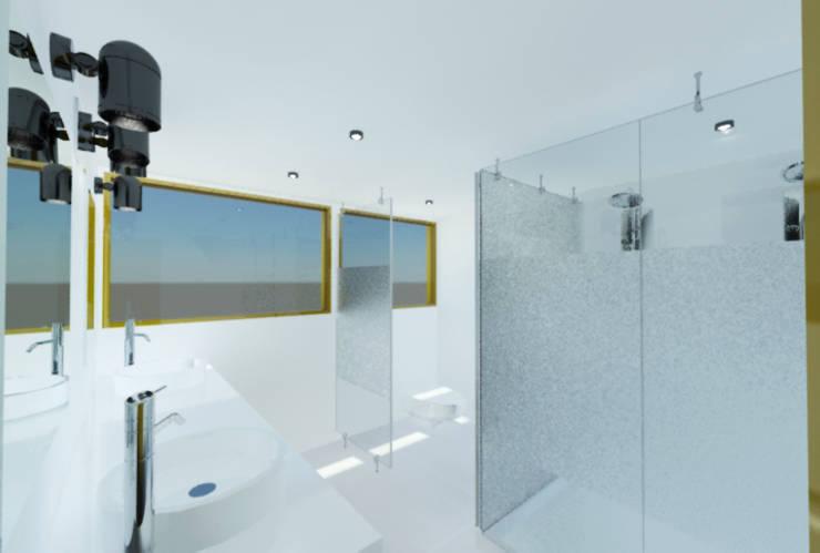Proyecto Casa Chicó: Baños de estilo moderno por ARQFACTORY FIRMA DE ARQUITECTURA